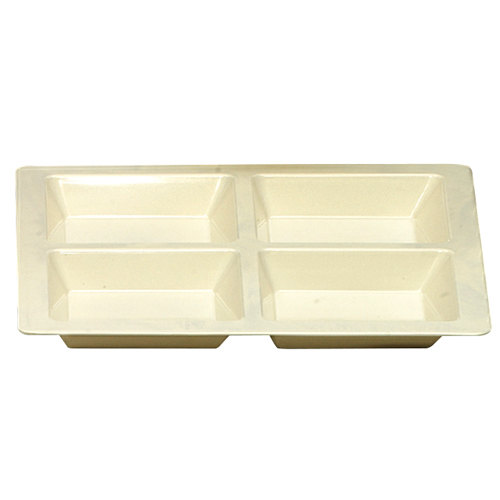 Thunder Group PS5104V Passion Pearl 60 oz. Melamine Square 4 Section Compartment Tray - 6/Pack Main Image 1
