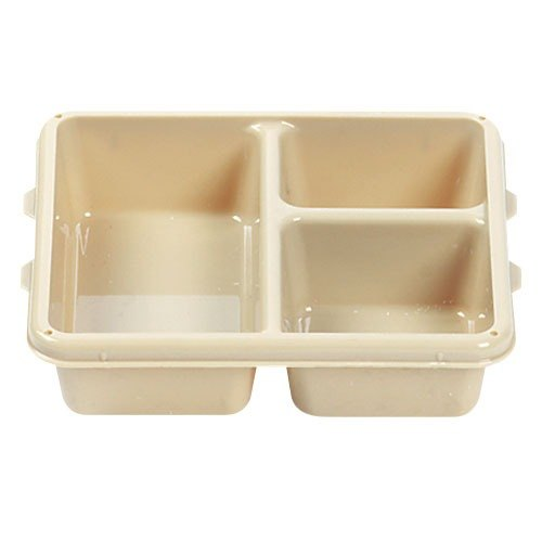"""Cambro 9113CP161 9"""" x 11"""" Tan 3 Compartment Meal Delivery Tray - 24/Case"""