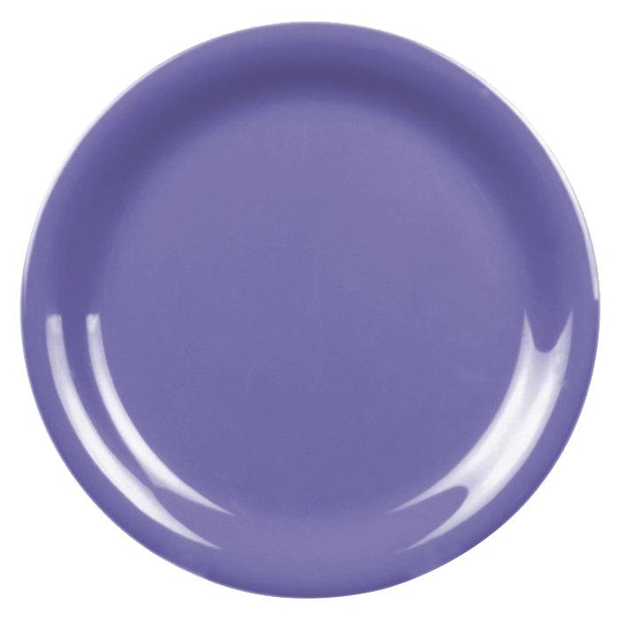 """Thunder Group CR106BU 6 1/2"""" Purple Narrow Rim Melamine Plate - 12/Pack Main Image 1"""