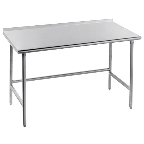 "Advance Tabco TSFG-242 24"" x 24"" 16 Gauge Super Saver Commercial Work Table with 1 1/2"" Backsplash"