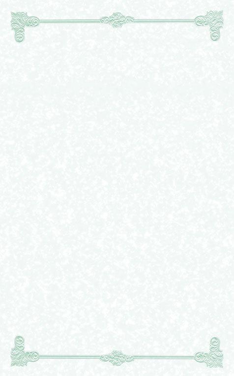 "8 1/2"" x 11"" Green Menu Paper - Scroll Border - 100/Pack"