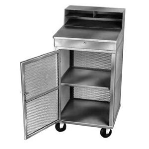 Winholt OTE-2224-GY Gray Steel Expanded and Enclosed Receiving / Shop Desk with Lockable Doors Main Image 1