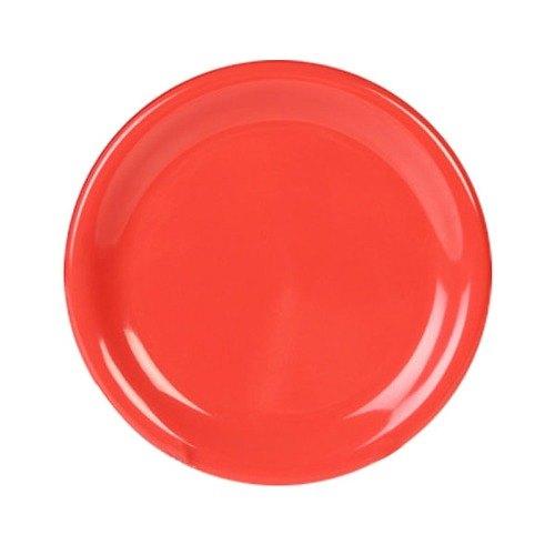 """Thunder Group CR007RD 7 7/8"""" Orange Wide Rim Melamine Plate - 12/Pack"""