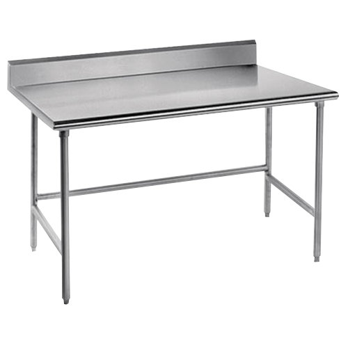 """Advance Tabco TKMS-243 24"""" x 36"""" 16 Gauge Open Base Stainless Steel Commercial Work Table with 5"""" Backsplash"""