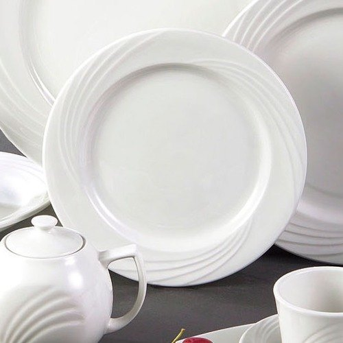 "CAC GAD-16 Garden State 10 1/4"" Bone White Round Porcelain Plate - 12/Case Main Image 1"