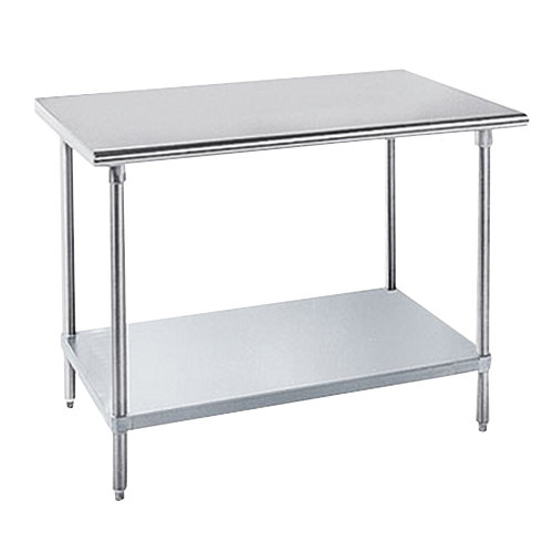 """Advance Tabco AG-307 30"""" x 84"""" 16 Gauge Stainless Steel Work Table with Galvanized Undershelf"""