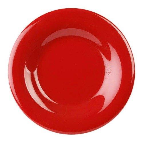 "Thunder Group CR009PR 9 1/4"" Pure Red Wide Rim Melamine Plate - 12/Pack"