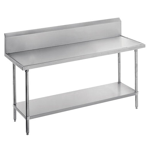 "Advance Tabco VKS-242 Spec Line 24"" x 24"" 14 Gauge Work Table with Stainless Steel Undershelf and 10"" Backsplash"