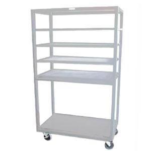 "Winholt DR-2443 White 43"" x 24"" Merchandiser Rack with Four Flat Shelves and Flat Bottom Shelf"