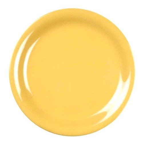 "Thunder Group CR110YW 10 1/2"" Yellow Narrow Rim Melamine Plate - 12/Pack"