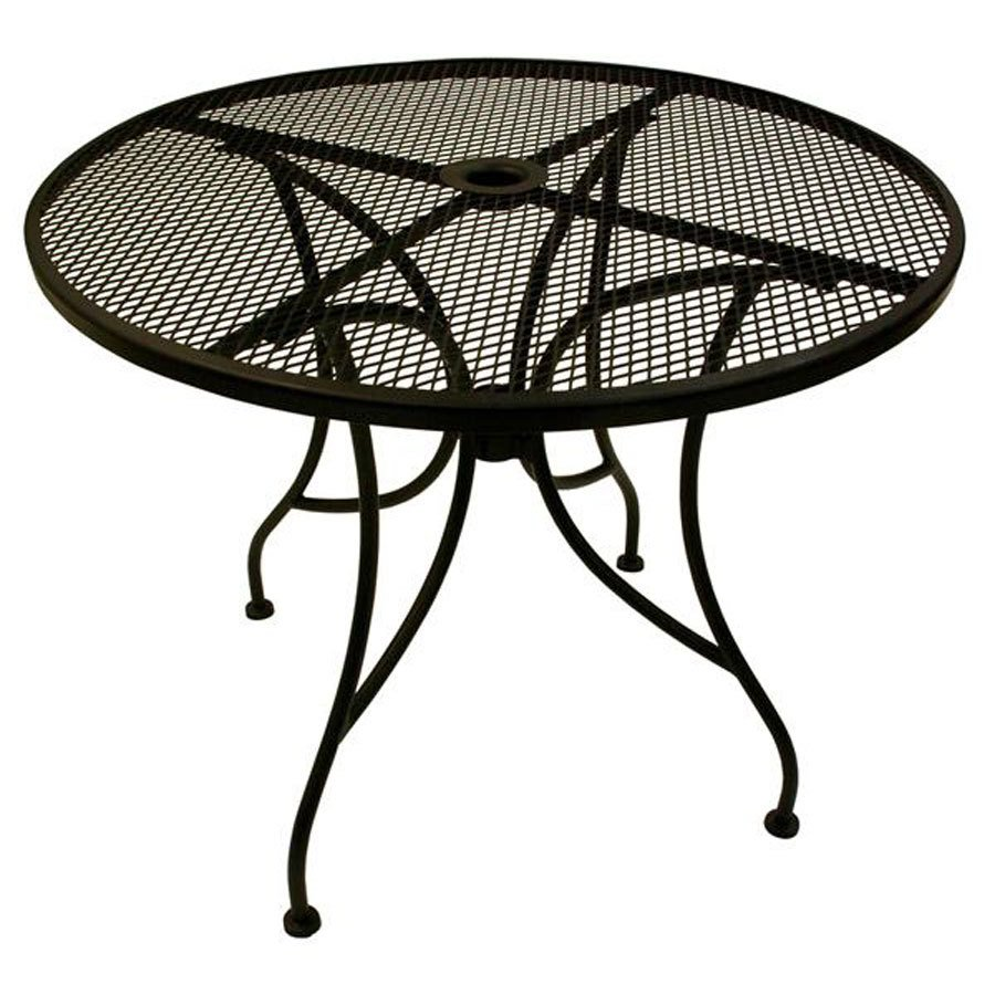 """Patio Umbrella Table: American Tables & Seating ALM30 30"""" Round Mesh Top Outdoor"""