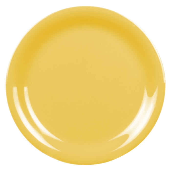 "Thunder Group CR106YW 6 1/2"" Yellow Narrow Rim Melamine Plate - 12/Pack"