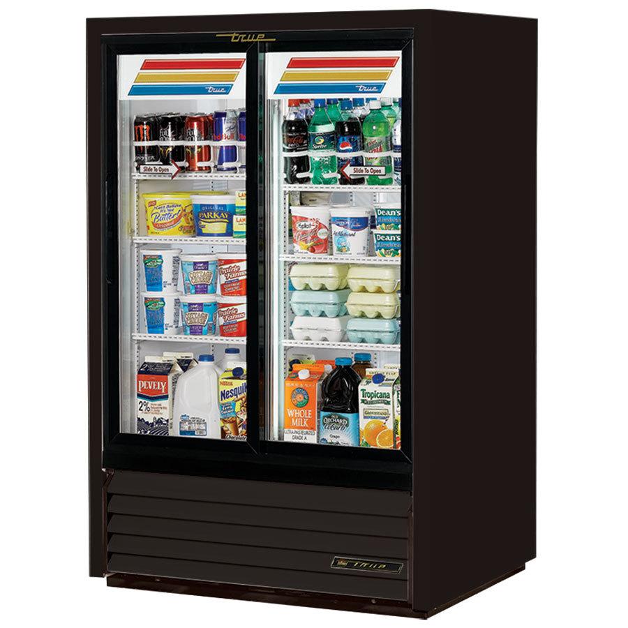 Glass Refrigerator True Gdm 33cpt 54 Ld Black Sliding Glass Door Narrow Depth
