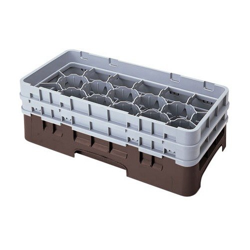 "Cambro 17HS958167 Camrack Customizable 10 1/8"" High Customizable Brown 17 Compartment Half Size Glass Rack"