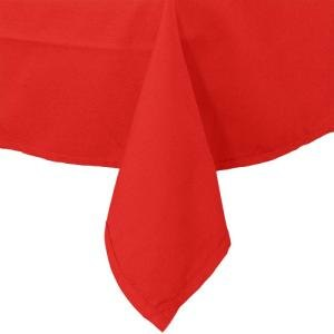 "64"" x 110"" Rectangular Red Hemmed Polyspun Cloth Table Cover"