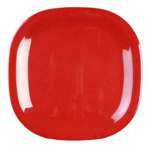 """Thunder Group PS3010RD Passion Red 10 3/4"""" Round Square Plate - 12/Pack"""
