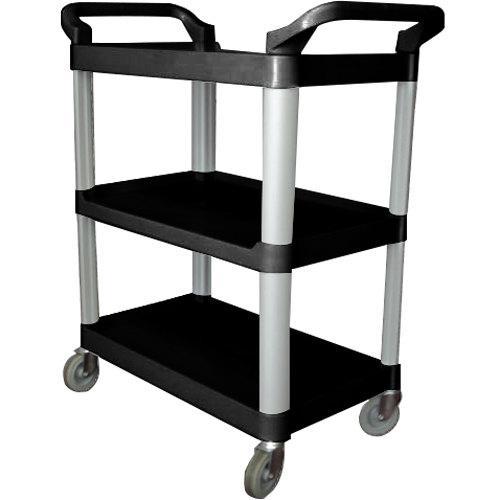 "40"" x 19 3/4"" x 37 1/2"" Black Three Shelf Utility Cart / Bus Cart"
