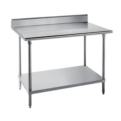 "Advance Tabco SKG-366 36"" x 72"" 16 Gauge Super Saver Stainless Steel Commercial Work Table with Undershelf and 5"" Backsplash"