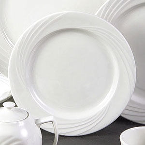 "CAC GAD-9 Garden State 9 3/4"" Bone White Round Porcelain Plate - 24/Case"