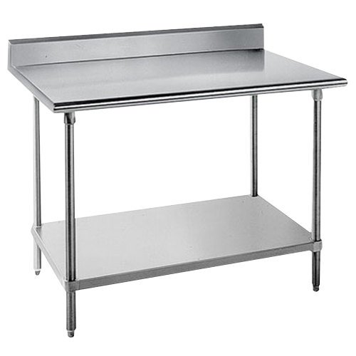 "Advance Tabco KAG-367 36"" x 84"" 16 Gauge Stainless Steel Commercial Work Table with 5"" Backsplash and Galvanized Undershelf"