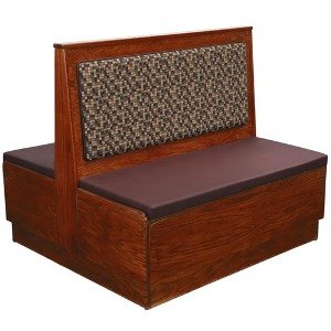 """American Tables & Seating AD36-W-PS-D Plain Back Platform Seat Double Deuce Wood Booth - 36"""" High"""
