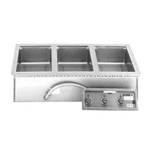 Wells MOD327TDM 3 Well 4/3 Size Drop-In Hot Food Well with Drain Manifolds - Thermostatic Control