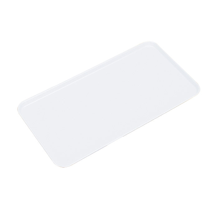 """Cambro 1218MT148 11"""" x 18"""" White Fiberglass Market Tray - 12/Case"""