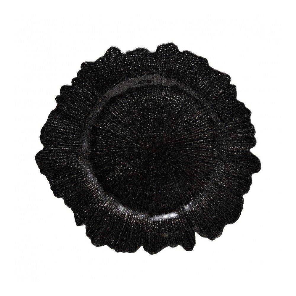 10 Strawberry Street SPB340 13 3/4 Inch Sponge Black Glass Charger Plate