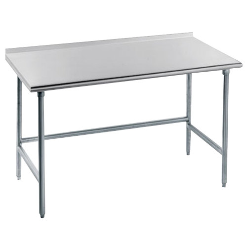 "Advance Tabco TFAG-242 24"" x 24"" 16 Gauge Super Saver Commercial Work Table with 1 1/2"" Backsplash"