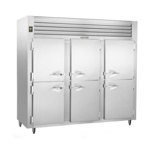 Traulsen RLT332WUT-HHS Stainless Steel 79 Cu. Ft. Three-Section Solid Half Door Reach-In Freezer - Specification Line Main Image 1