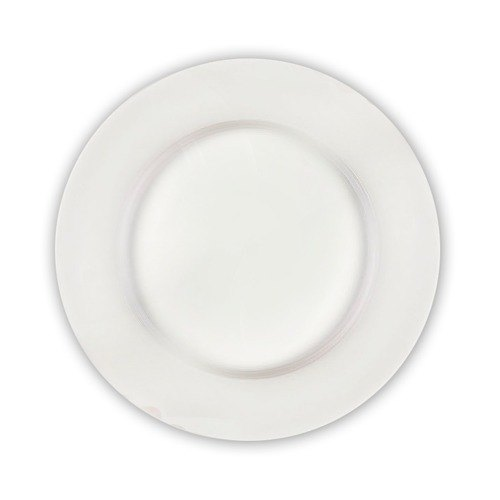 """CAC RCN-28 Clinton 20"""" Bright White Rolled Edge Round Porcelain Plate - 2/Case"""