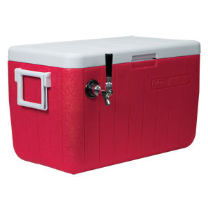 Micro Matic CB481R Red 1 Faucet 48 Qt. Insulated Jockey Box with 100 ft. Coil