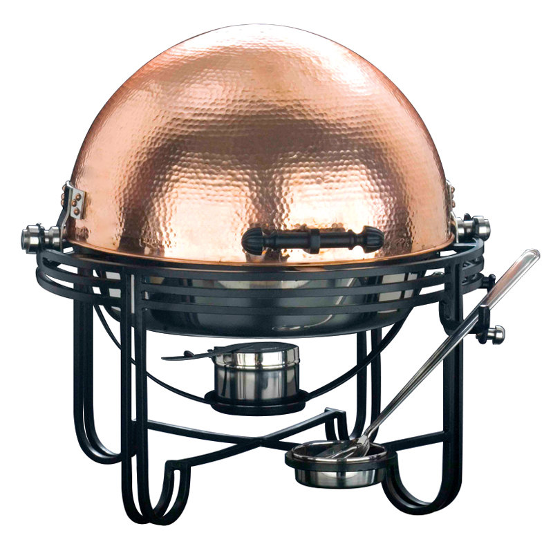 American Metalcraft MESA91C 6 Qt. Round Roll Top Chafer with Hammered Copper Cover Main Image 1