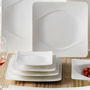"CAC MDN-8 Modern 8 1/2"" New Bone White Square Porcelain Plate - 24/Case"