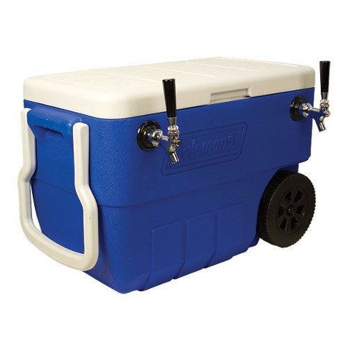 """Micro Matic HDCP-D2-50B Blue 2 Faucet 50 Qt. Insulated Jockey Box with 10"""" x 15"""" Cold Plate"""