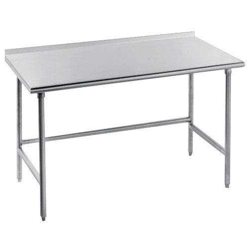"""Advance Tabco TFSS-306 30"""" x 72"""" 14 Gauge Open Base Stainless Steel Commercial Work Table with 1 1/2"""" Backsplash"""