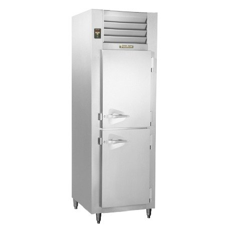 Traulsen RLT132DUT-HHS Stainless Steel 17.7 Cu. Ft. One-Section Solid Half Door Narrow Reach-In Freezer - Specification Line Main Image 1