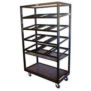 "Winholt DR-2143 Black 43"" x 21"" Merchandiser Rack with Four Slanted Shelves and Flat Bottom Shelf Main Image 1"