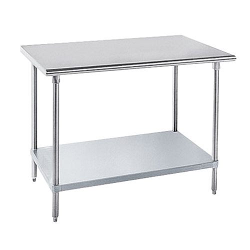 "Advance Tabco GLG-489 48"" x 108"" 14 Gauge Stainless Steel Work Table with Galvanized Undershelf"
