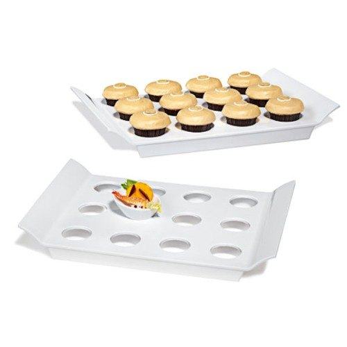 """GET ML-291-W San Michele Collection 18"""" x 13"""" White Melamine Display Tray with Round Slots"""