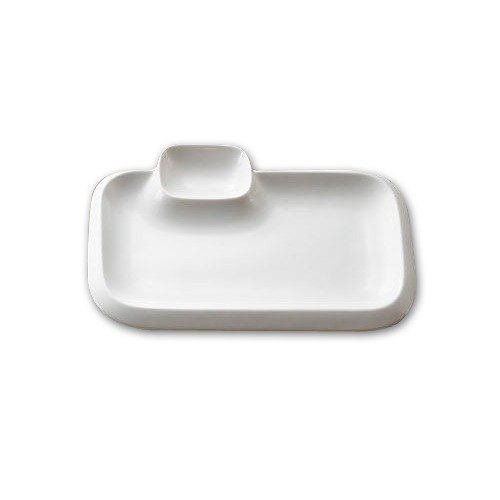CAC TRY-RT10 Bone White Party Collection Rectangular Porcelain Platter - 12/Case