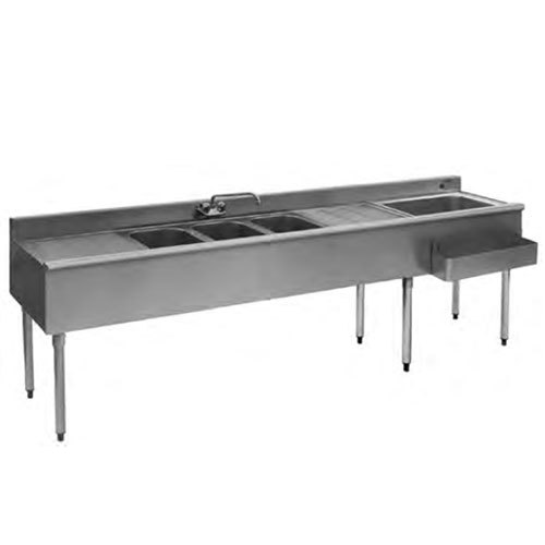 """Eagle Group BC7C-18R Combination Underbar Sink and Ice Bin with Three Sinks, Two Drainboards, One Faucet, and Right Side Ice Bin - 84"""""""