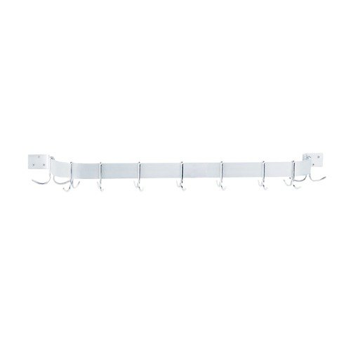 """Advance Tabco GW1-60 65"""" Powder Coated Steel Wall Mounted Single Line Pot Rack with 9 Double Prong Hooks"""