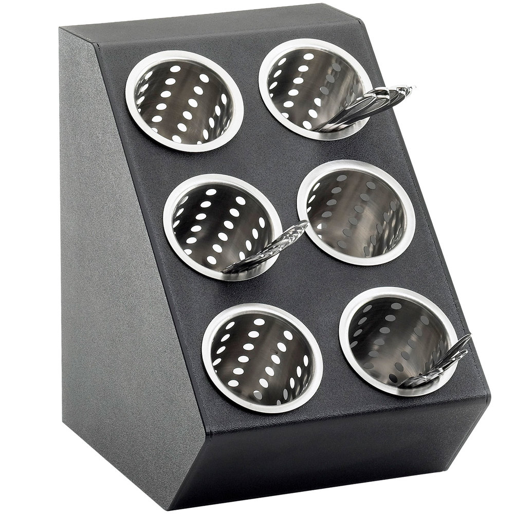 Cal mil 2049 classic black six hole vertical silverware for Vertical silverware organizer