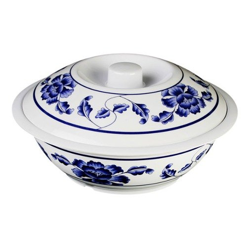 Thunder Group 8011TB Lotus 2.5 Qt. Round Melamine Serving Bowl with Lid - 11""