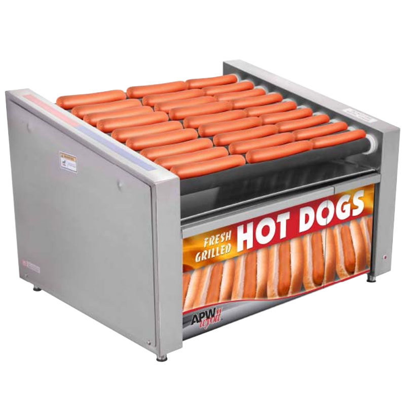 "APW Wyott HRS-50BD 35"" Hot Dog Roller Grill with Tru-Turn Rollers and Bun Drawer - 120V"
