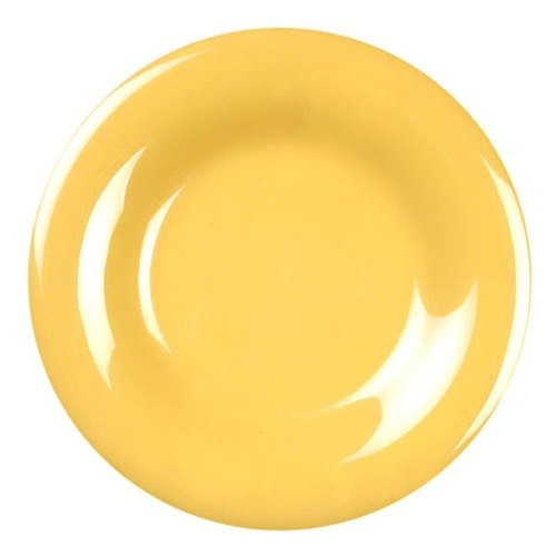 """Thunder Group CR009YW 9 1/4"""" Yellow Wide Rim Melamine Plate - 12/Pack Main Image 1"""