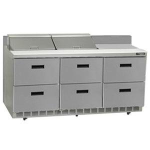 "Delfield STD4472N-12 72"" 6 Drawer Refrigerated Sandwich Prep Table with 4"" Backsplash"