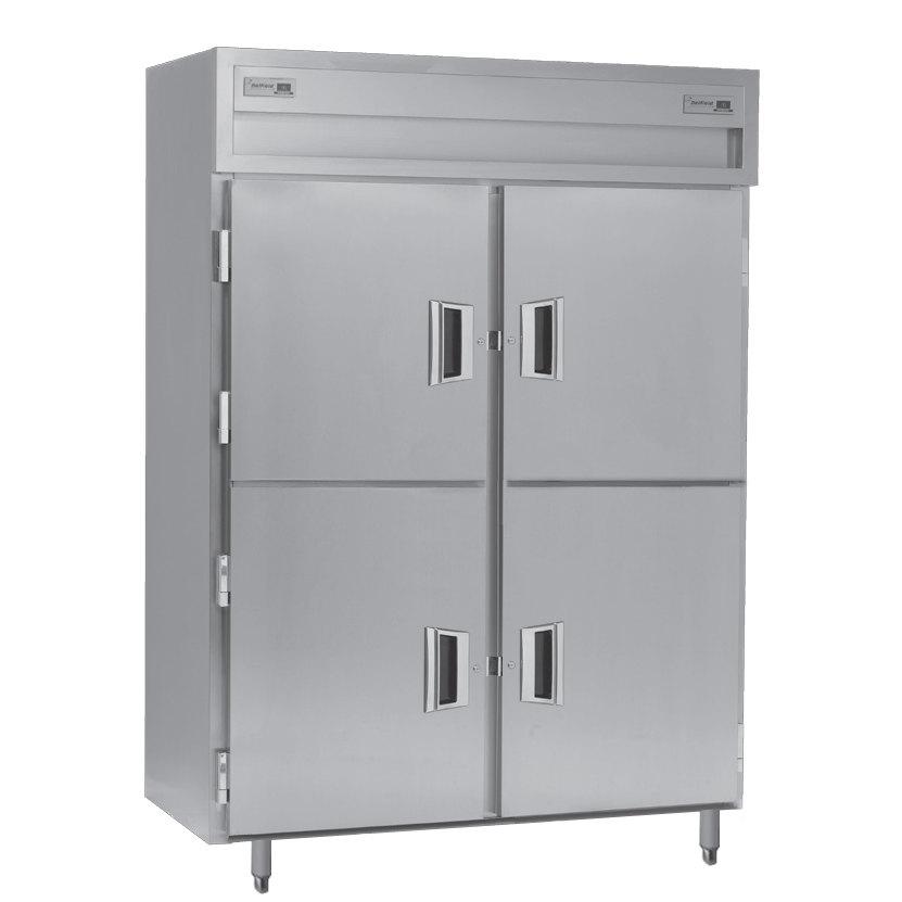 Delfield SADFP2-SH 49.92 Cu. Ft. Solid Half Door Dual Temperature Reach In Pass-Through Refrigerator / Freezer - Specification Line