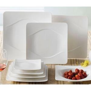 "CAC MDN-21 Modern 12 1/2"" New Bone White Square Porcelain Plate - 12/Case"